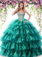 Romantic Sweetheart Sleeveless Organza Quinceanera Gown Beading and Ruffled Layers Lace Up