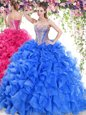 Sweet Blue Organza Lace Up Quince Ball Gowns Sleeveless Sweep Train Beading and Ruffles
