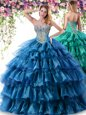 Enchanting Sweetheart Sleeveless Organza 15 Quinceanera Dress Beading and Ruffles Lace Up
