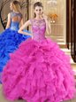 New Style Organza Sleeveless Floor Length Quince Ball Gowns and Beading and Ruffles