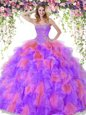 Sweetheart Sleeveless Lace Up Quinceanera Gown Multi-color Organza