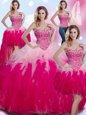 Four Piece Multi-color 15 Quinceanera Dress Military Ball and Sweet 16 and Quinceanera and For with Beading and Ruffles Sweetheart Sleeveless Lace Up