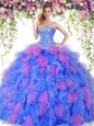 Beauteous Sleeveless Lace Up Floor Length Beading and Ruffles Sweet 16 Dresses