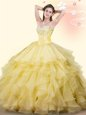 Sophisticated Sweetheart Sleeveless Lace Up 15th Birthday Dress Yellow Organza