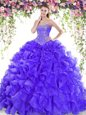 Glorious Purple Quince Ball Gowns Sweetheart Sleeveless Sweep Train Lace Up