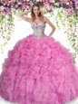 Glorious Rose Pink Lace Up Quinceanera Dress Beading and Ruffles Sleeveless Floor Length