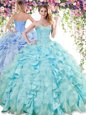 Sleeveless Floor Length Ruffles Lace Up Sweet 16 Dress with Baby Blue