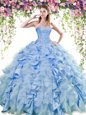 Sweetheart Sleeveless Organza and Taffeta Sweet 16 Dresses Beading and Ruffles Lace Up