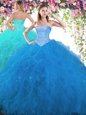 Dramatic Tulle Sweetheart Sleeveless Lace Up Beading and Ruffles Sweet 16 Quinceanera Dress in Multi-color