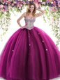 Best Selling Fuchsia Tulle Lace Up Quinceanera Gowns Sleeveless Floor Length Beading