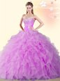 Lilac Ball Gowns Sweetheart Sleeveless Organza Floor Length Lace Up Beading and Ruffles Sweet 16 Dress
