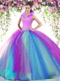 Floor Length Apple Green Quinceanera Dresses Organza Sleeveless Beading and Ruffles