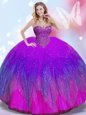 Cheap Multi-color Sleeveless Tulle Lace Up Quince Ball Gowns for Military Ball and Sweet 16 and Quinceanera