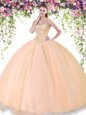 Floor Length Lace Up 15 Quinceanera Dress Peach and In for Military Ball and Sweet 16 and Quinceanera with Beading