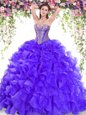Ball Gowns Sleeveless Purple Quince Ball Gowns Sweep Train Lace Up