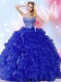 Suitable Royal Blue Sweetheart Lace Up Beading and Ruffles Quinceanera Dresses Sleeveless