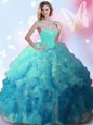 Floor Length Multi-color Ball Gown Prom Dress High-neck Sleeveless Zipper