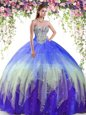 Sweet Tulle Sleeveless Floor Length 15 Quinceanera Dress and Beading