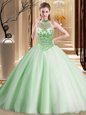 Deluxe Halter Top With Train Lace Up Quinceanera Dress Apple Green and In for Military Ball and Sweet 16 and Quinceanera with Beading Brush Train