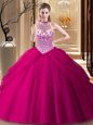 Pick Ups Halter Top Sleeveless Brush Train Lace Up Quince Ball Gowns Fuchsia Tulle