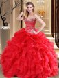 Decent Organza Sweetheart Sleeveless Lace Up Beading and Ruffles Quinceanera Dresses in Red