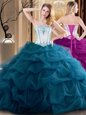 Elegant Floor Length Teal Sweet 16 Quinceanera Dress Tulle Sleeveless Embroidery and Ruffled Layers