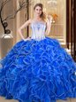 Flare Royal Blue Lace Up Strapless Embroidery and Ruffles Vestidos de Quinceanera Organza Sleeveless