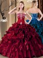 Flare Wine Red Ball Gowns Sweetheart Sleeveless Organza Floor Length Lace Up Embroidery and Ruffles Sweet 16 Dress