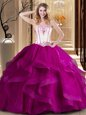 Fantastic Ball Gowns Sweet 16 Dresses Fuchsia Strapless Tulle Sleeveless Floor Length Lace Up