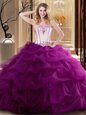 Fabulous Fuchsia Tulle Lace Up Strapless Sleeveless Floor Length Quinceanera Dress Embroidery and Ruffled Layers