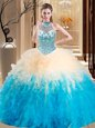 Halter Top Floor Length Multi-color Ball Gown Prom Dress Tulle Sleeveless Beading and Ruffles