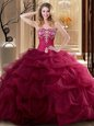 Customized Sweetheart Sleeveless Lace Up Sweet 16 Quinceanera Dress Wine Red Tulle