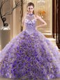 Dramatic Halter Top With Train Ball Gowns Sleeveless Multi-color Sweet 16 Dresses Brush Train Lace Up