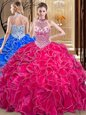 Halter Top Hot Pink Sleeveless Organza Lace Up Sweet 16 Dresses for Military Ball and Sweet 16 and Quinceanera