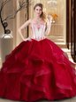 Fantastic Wine Red Ball Gowns Strapless Sleeveless Tulle Floor Length Lace Up Embroidery Sweet 16 Quinceanera Dress