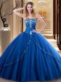 Glamorous Sleeveless Lace Up Floor Length Embroidery Sweet 16 Dress