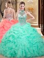 Halter Top Sleeveless Organza Floor Length Lace Up Quinceanera Dresses in Apple Green for with Beading and Ruffles and Pick Ups