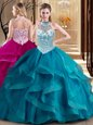 Colorful Ball Gowns 15th Birthday Dress Teal Strapless Tulle Sleeveless Floor Length Lace Up