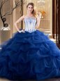 Affordable Sleeveless Embroidery and Ruffled Layers Lace Up Vestidos de Quinceanera