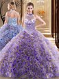 Spectacular Halter Top Sleeveless Sweet 16 Dresses With Brush Train Beading Multi-color Fabric With Rolling Flowers