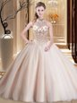 Peach Ball Gowns Halter Top Sleeveless Tulle With Brush Train Lace Up Beading Quince Ball Gowns