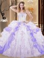 Super Floor Length Lace Up Quinceanera Dress White And Purple and In for Military Ball and Sweet 16 and Quinceanera with Embroidery and Ruffled Layers