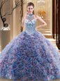 Flirting Halter Top Sleeveless Fabric With Rolling Flowers Quince Ball Gowns Beading Brush Train Lace Up