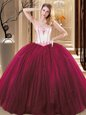 Floor Length Lace Up Quinceanera Dresses Wine Red and In for Military Ball and Sweet 16 and Quinceanera with Embroidery