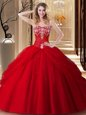 Floor Length Ball Gowns Sleeveless Red Vestidos de Quinceanera Lace Up