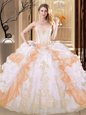 White and Yellow Lace Up Quince Ball Gowns Embroidery and Ruffled Layers Sleeveless Floor Length