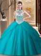 Nice Halter Top Teal Sleeveless Beading and Pick Ups Lace Up Sweet 16 Dress