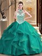 Halter Top Dark Green Sleeveless Brush Train Beading and Ruffles With Train Quinceanera Dress