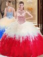 Amazing White And Red Halter Top Lace Up Beading and Ruffles Quinceanera Gowns Sleeveless