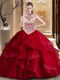 Halter Top With Train Ball Gowns Sleeveless Wine Red Quinceanera Dresses Brush Train Lace Up